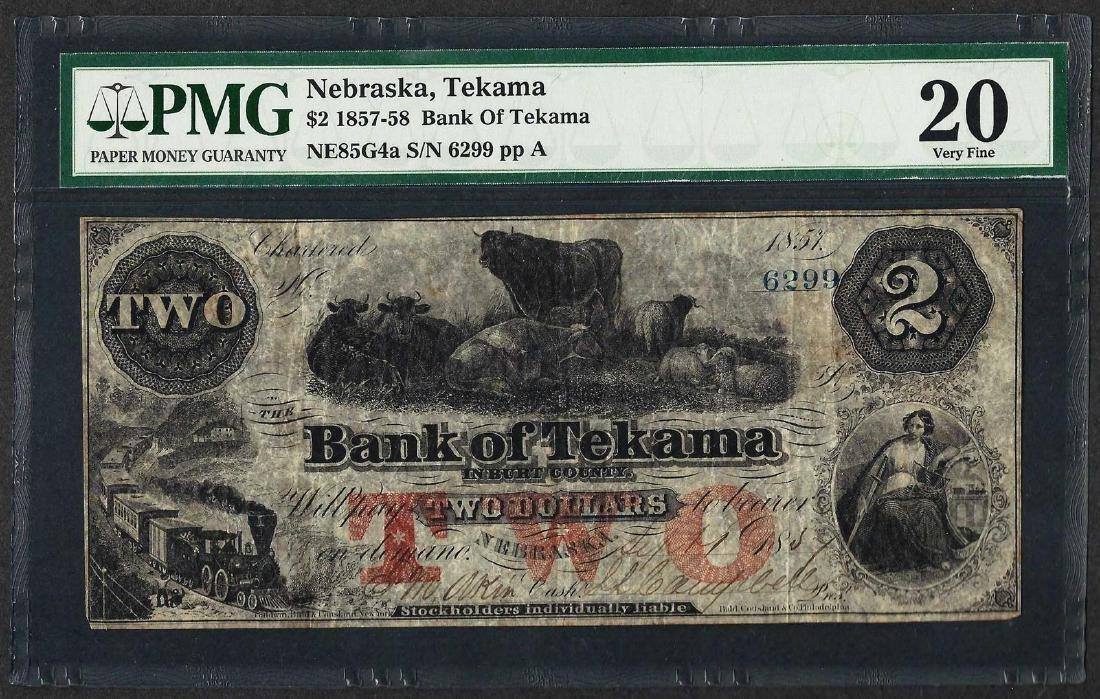 1857-58 $2 Bank of Tekama Obsolete Note PMG Very Fine