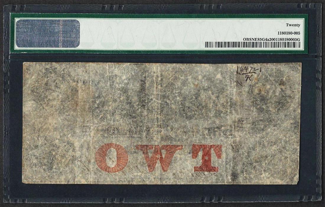 1857-58 $2 Bank of Tekama Obsolete Note PMG Very Fine - 2