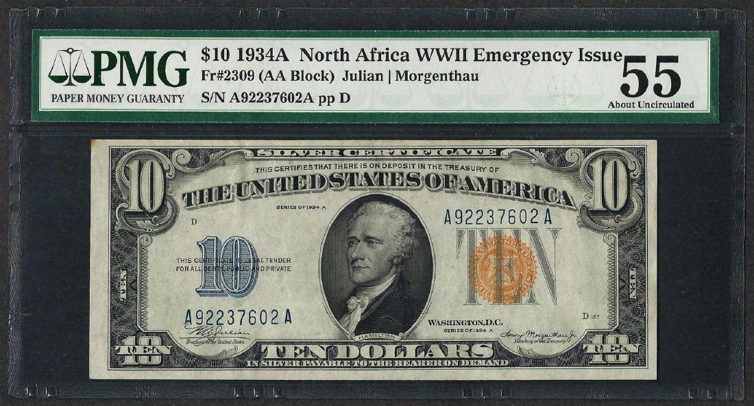 1934A $10 North Africa Silver Certificate WWII