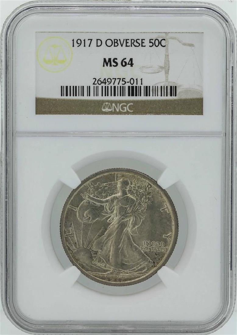 1917-D Obverse Walking Liberty Half Dollar Coin NGC