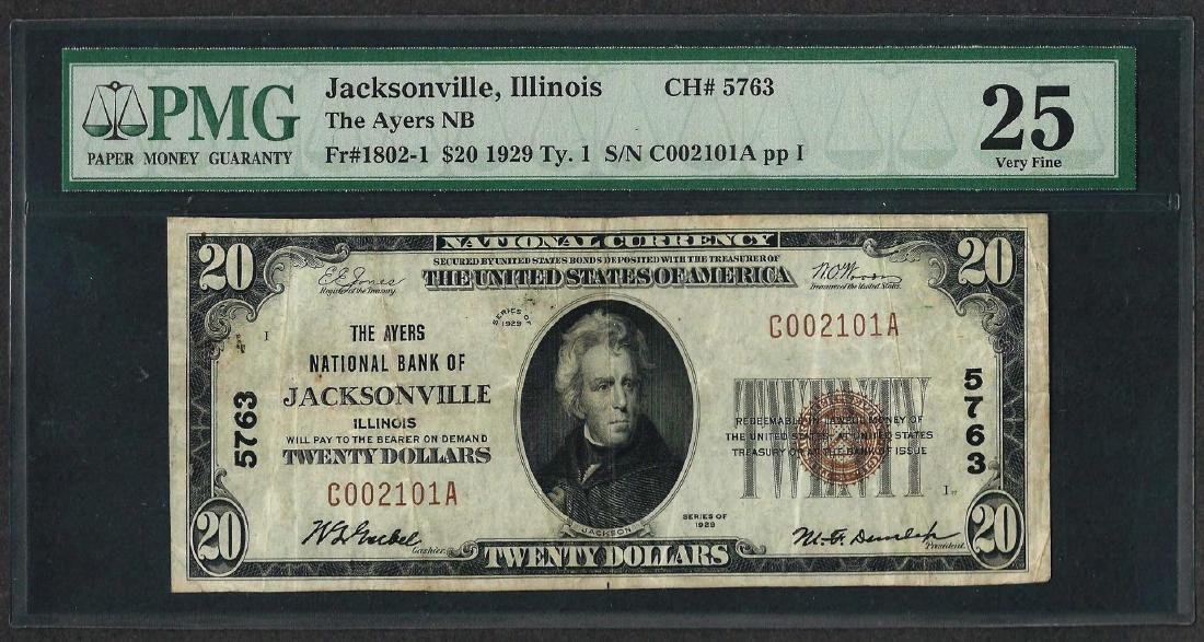 1929 $20 National Currency Note Jacksonville, Illinois