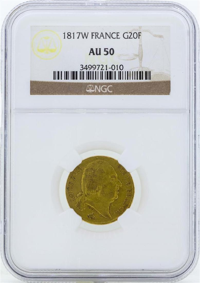 1817W France 20 Francs Gold Coin NGC AU50