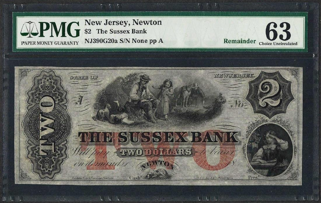1800's $2 The Sussex Bank Obsolete Note PMG Choice
