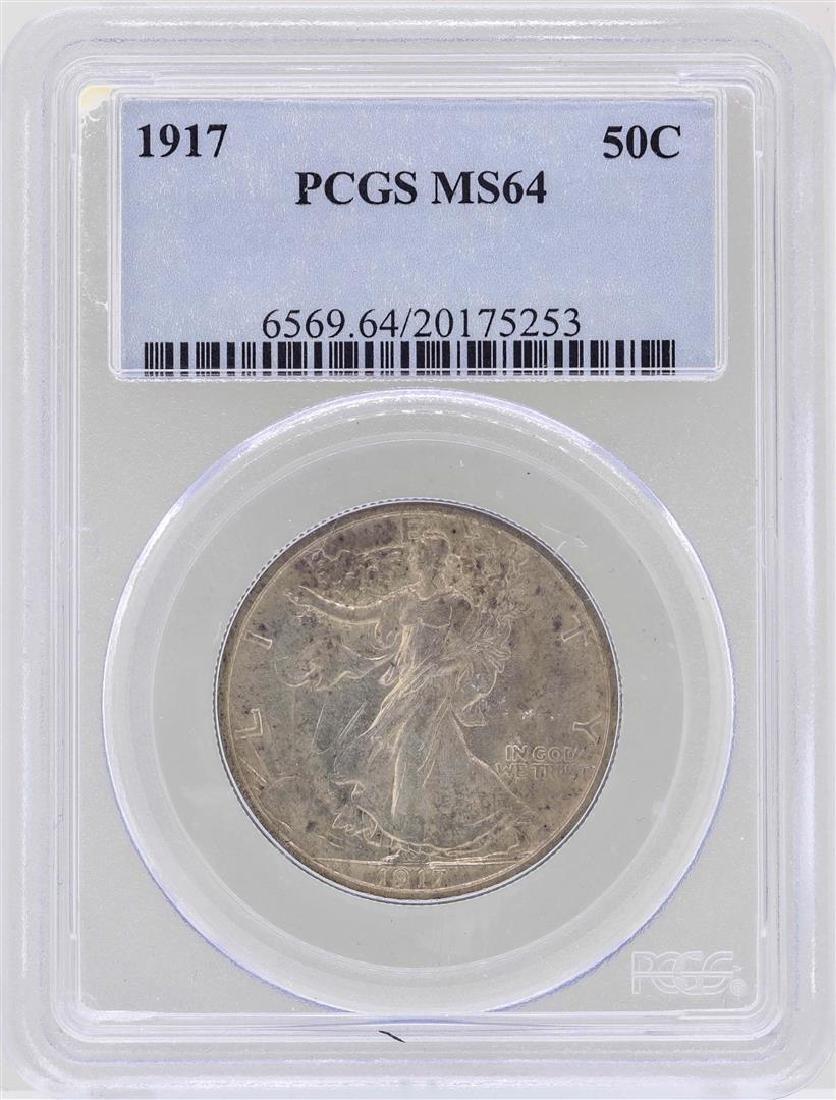 1917 Walking Liberty Half Dollar Coin PCGS MS64