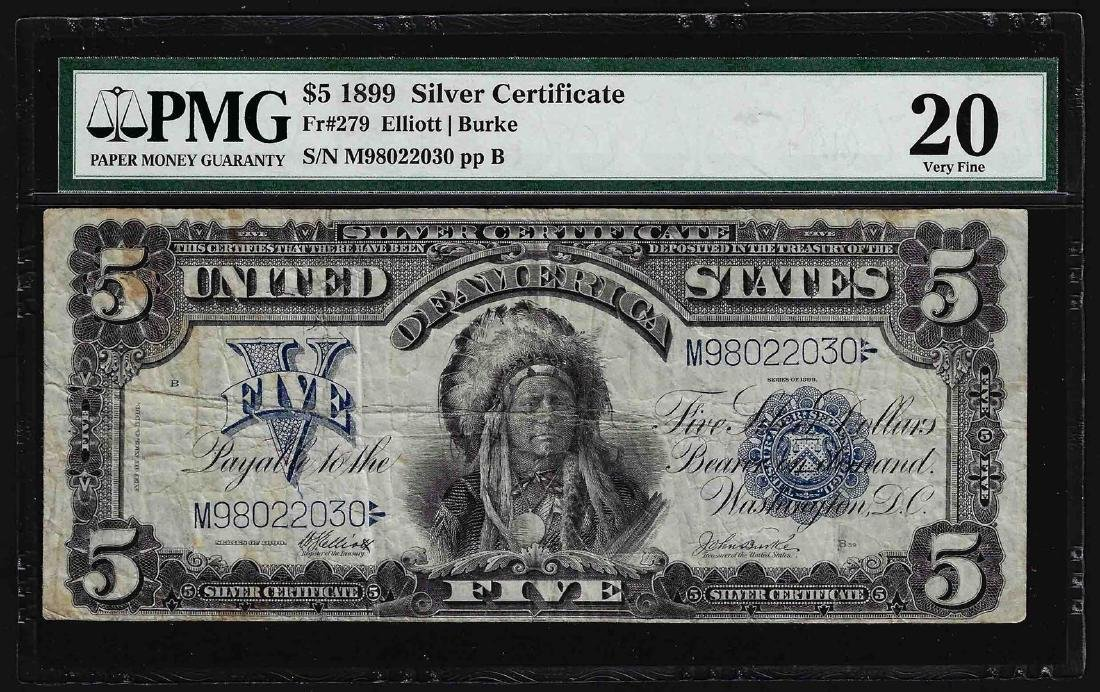 1899 $5 Chief Silver Certificate Note Fr.279 PMG Very