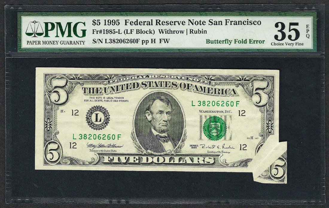 1995 $5 Federal Reserve Note ERROR Butterfly Fold PMG
