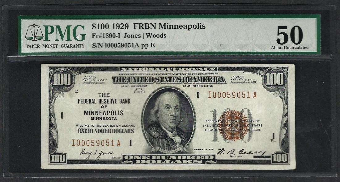 1929 $100 Federal Bank of Minneapolis Fr.1890-I Note