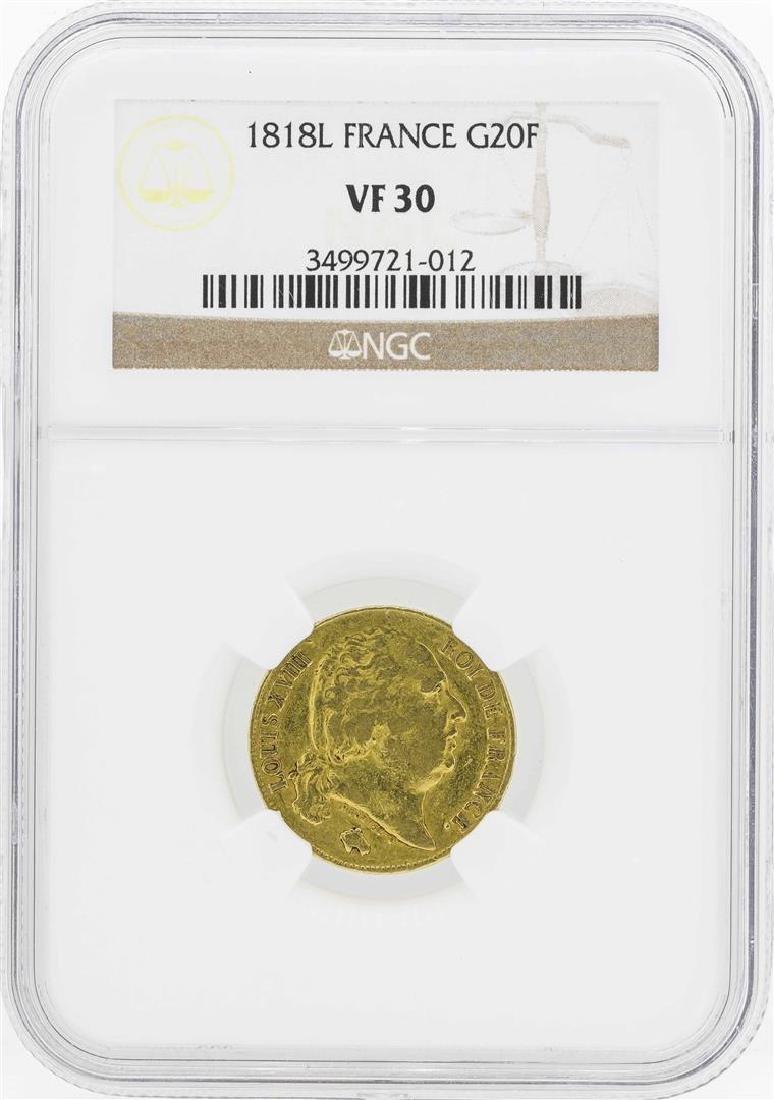 1818L France 20 Francs Gold Coin NGC VF30