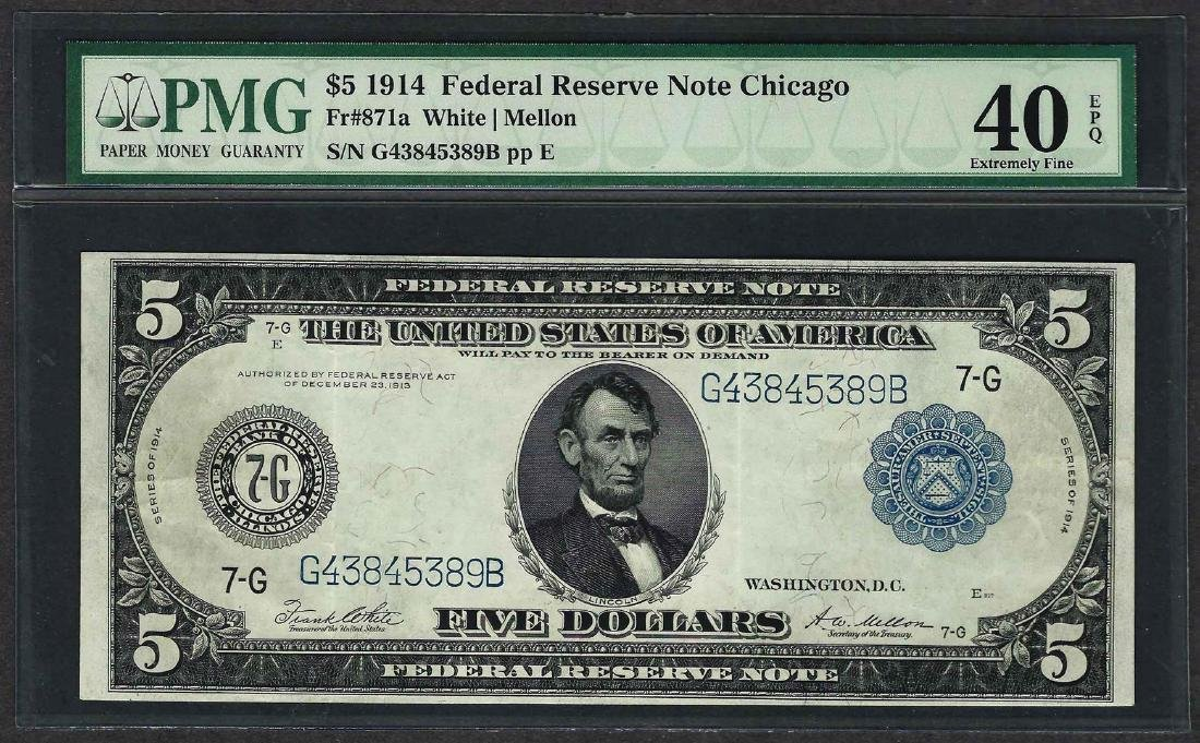 1914 $5 Federal Reserve Note Chicago Fr.871a PMG