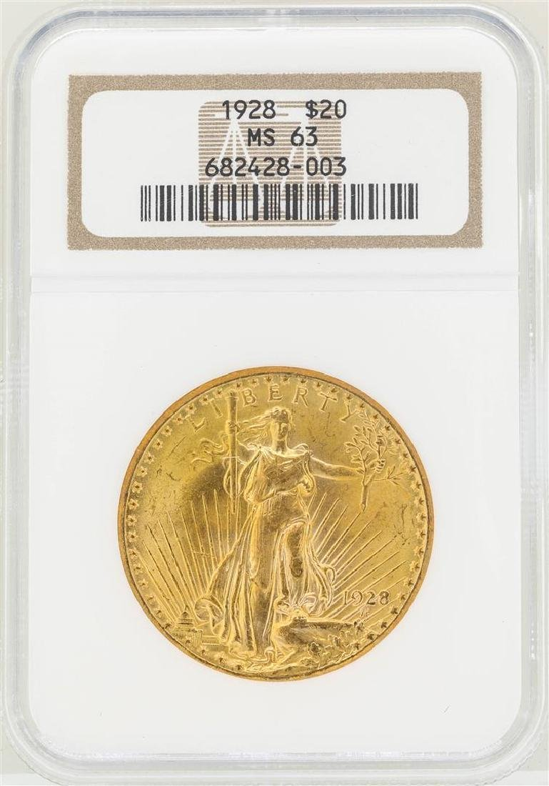 1928 $20 St. Gaudens Double Eagle Gold Coin NGC MS63