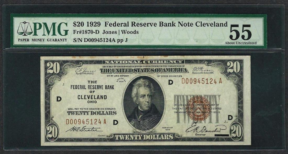 1929 $20 Federal Bank of Cleveland Fr.1870-D Note PMG