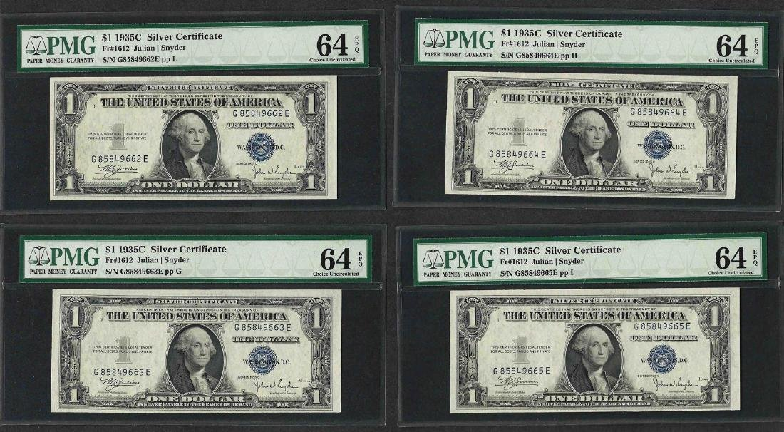 Lot of (4) Consecutive 1935C $1 Silver Certificate