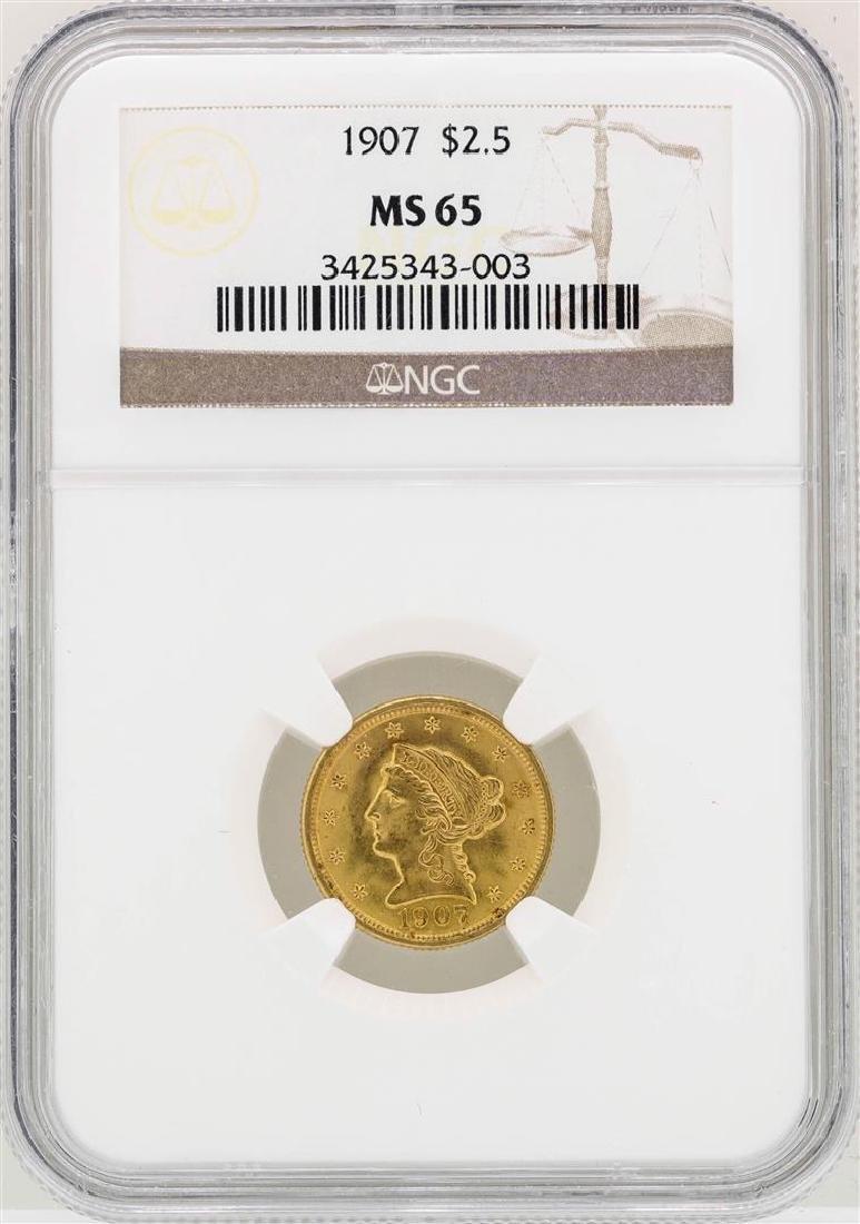 1907 $2 1/2 Liberty Head Quarter Eagle Gold Coin NGC