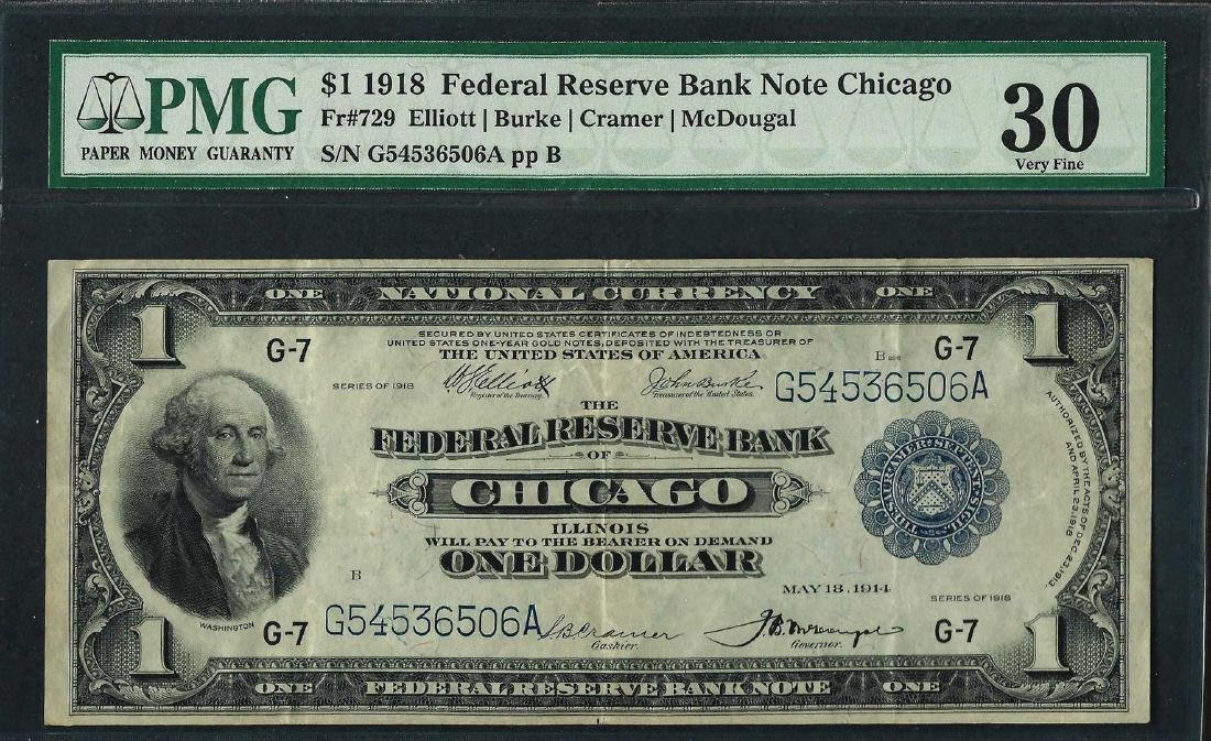 1918 $1 Federal Reserve Bank Note Chicago Fr.729 PMG