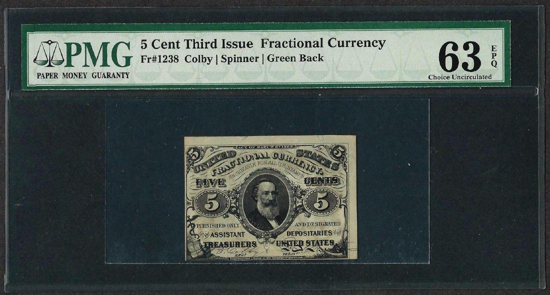 1863 Third Issue 5 Cent Fractional Currency Note PMG