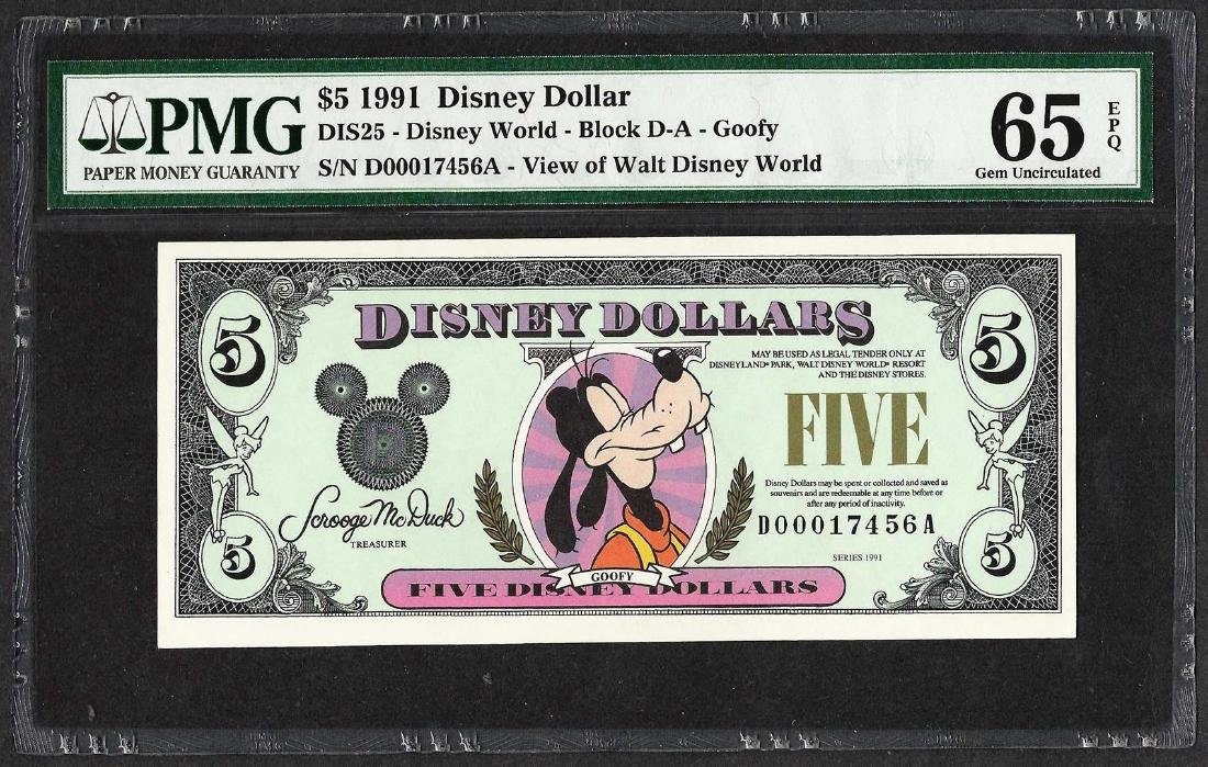 1991 $5 Disney Dollars Note PMG Gem Uncirculated 65EPQ