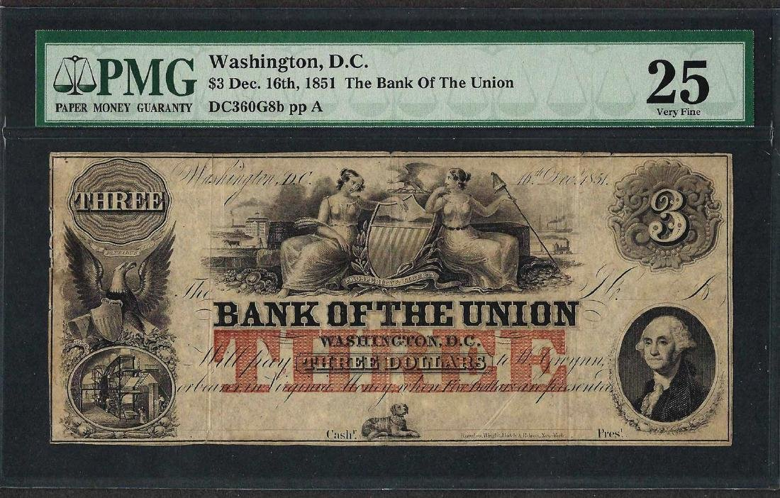 1851 $3 The Bank of the Union Obsolete Note PMG Very