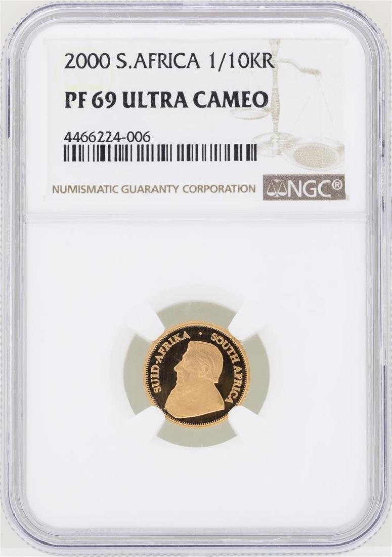 2000 South Africa 1/10 Krugerrand Gold Coin NGC PF69