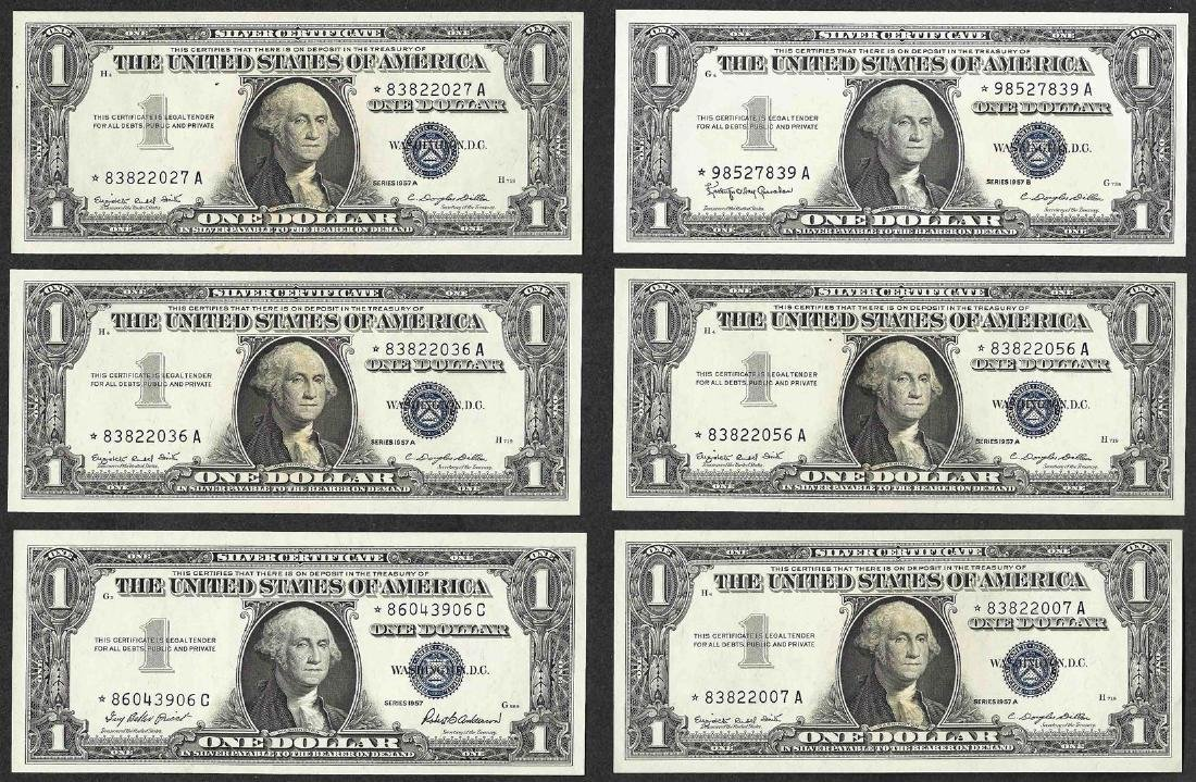 Lot of (6) 1957 $1 Silver Certificate STAR Notes
