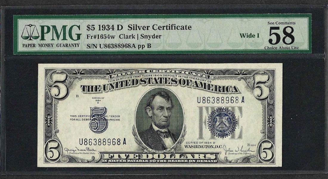 1934D $5 Silver Certificate Note Wide I Fr.1654w PMG