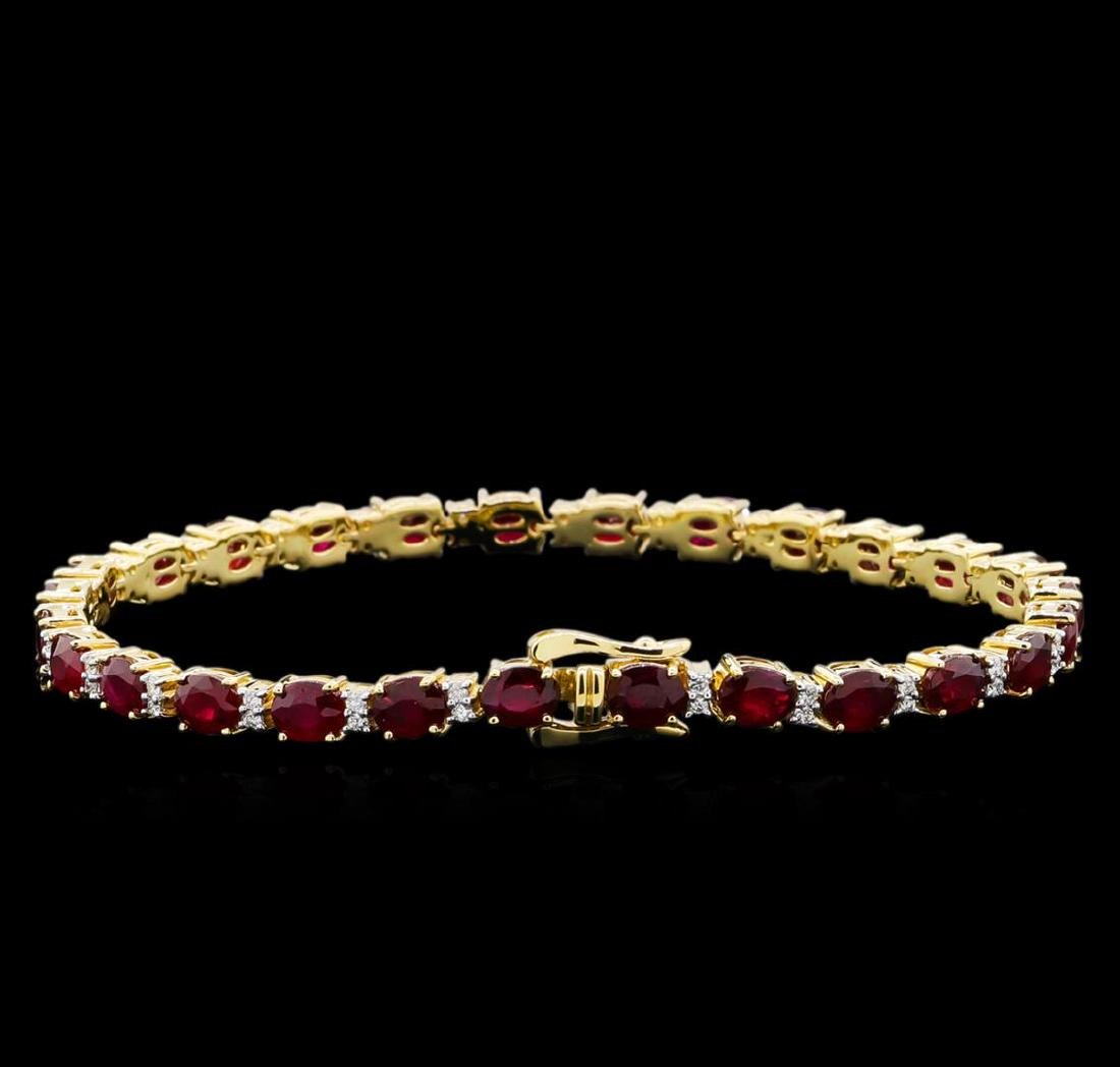 14KT Yellow Gold 11.35 ctw Ruby and Diamond Bracelet