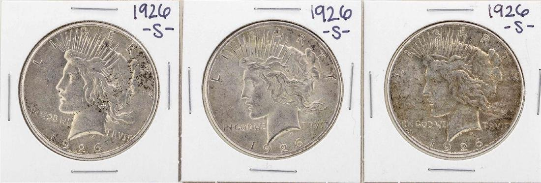 Lot of (3) 1926-S $1 Peace Silver Dollar Coins