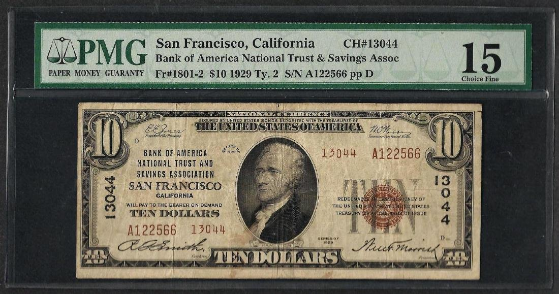 1929 $10 National Currency Note San Francisco,