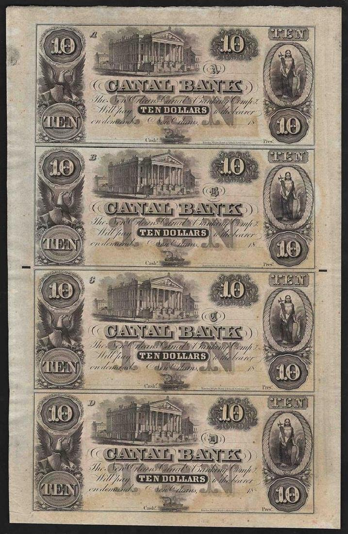 Uncut Sheet of $10 Canal Bank New Orleans Obsolete
