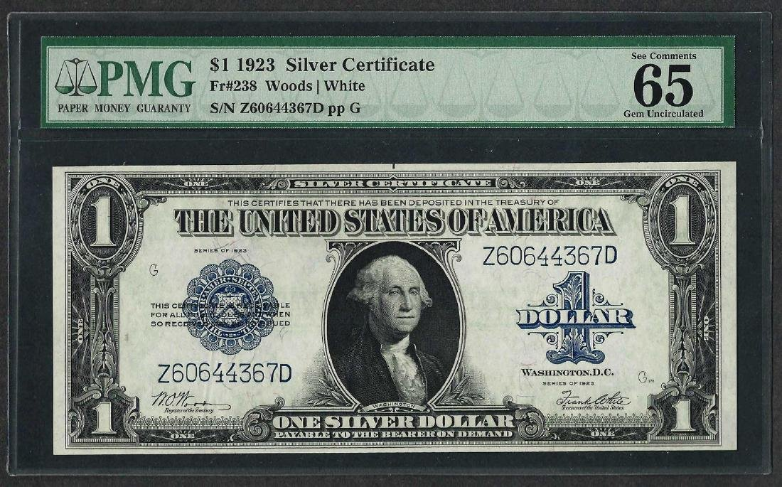1923 $1 Silver Certificate Note Fr.238 PMG Gem