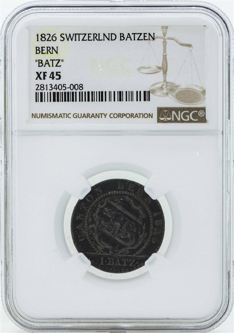 1826 Switzerland Batzen Coin NGC XF45