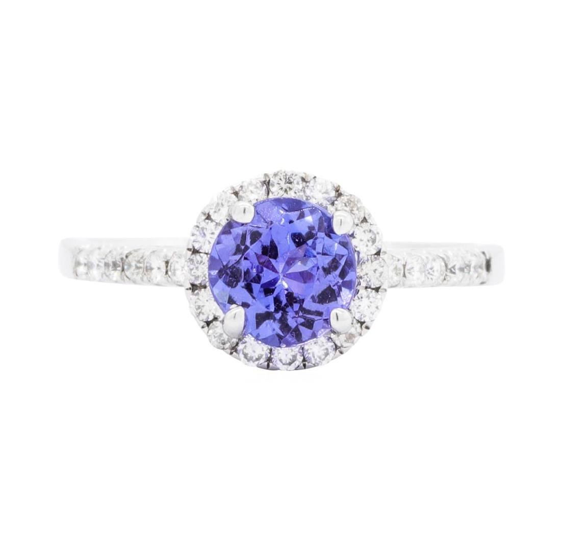 18KT White Gold 1.18 ctw Tanzanite and Diamond Ring