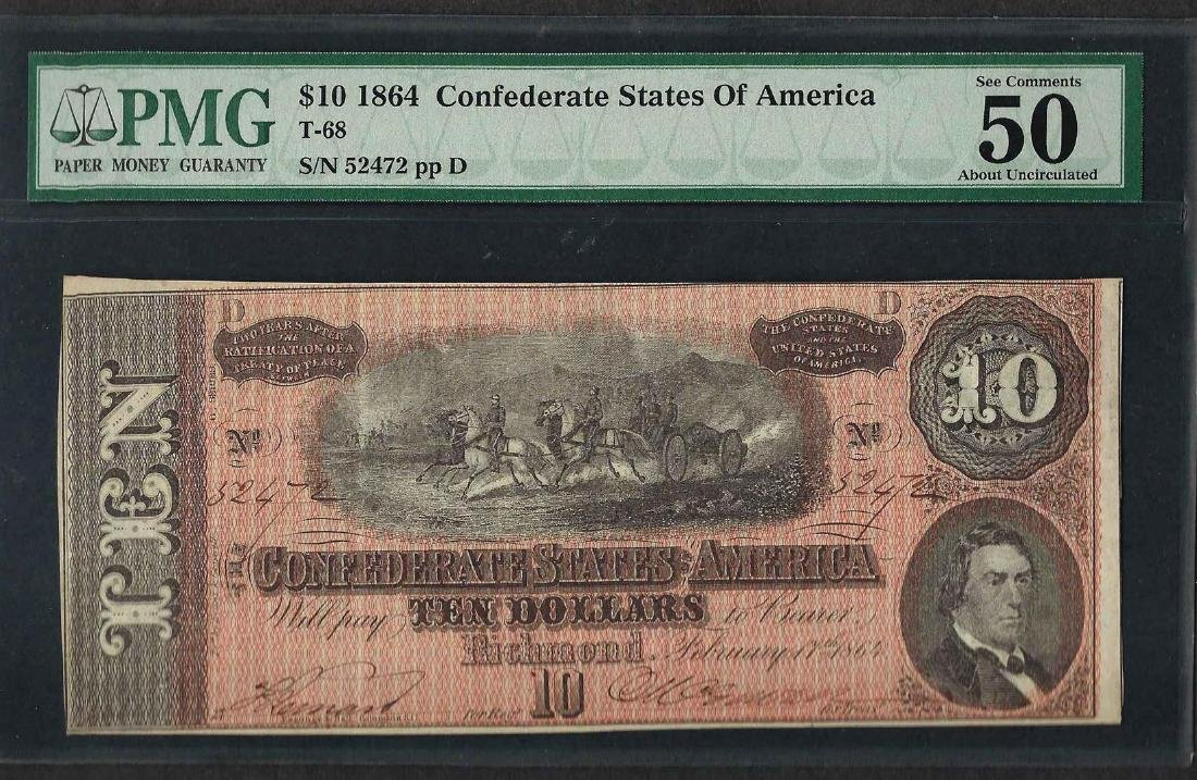 1864 $10 Confederate States of America Note T-68 PMG