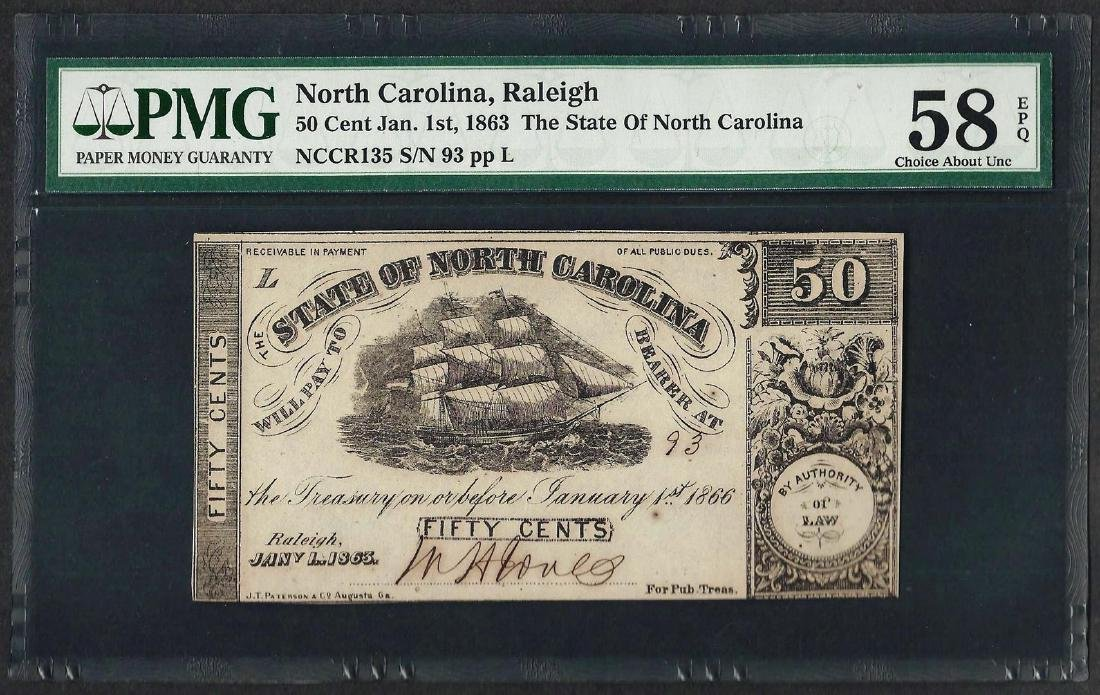 1863 50 Cent State of North Carolina Obsolete Note PMG