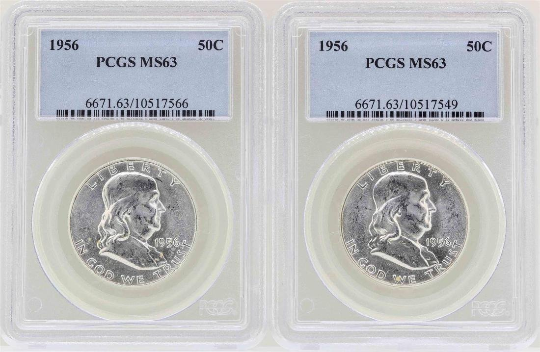 Lot of (2) 1956 Franklin Half Dollar Coins NGC MS63