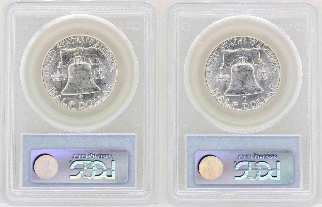 Lot of (2) 1956 Franklin Half Dollar Coins NGC MS63 - 2