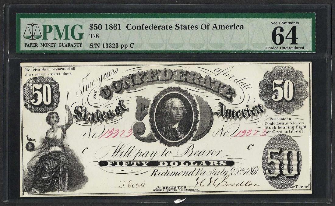 1861 $50 Confederate States of America Note T-8 PMG