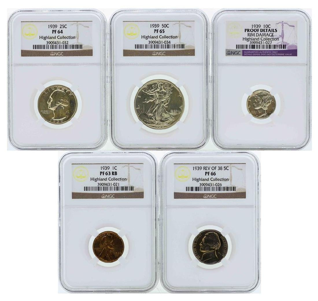 1939 (5) Coin Proof Set NGC Graded