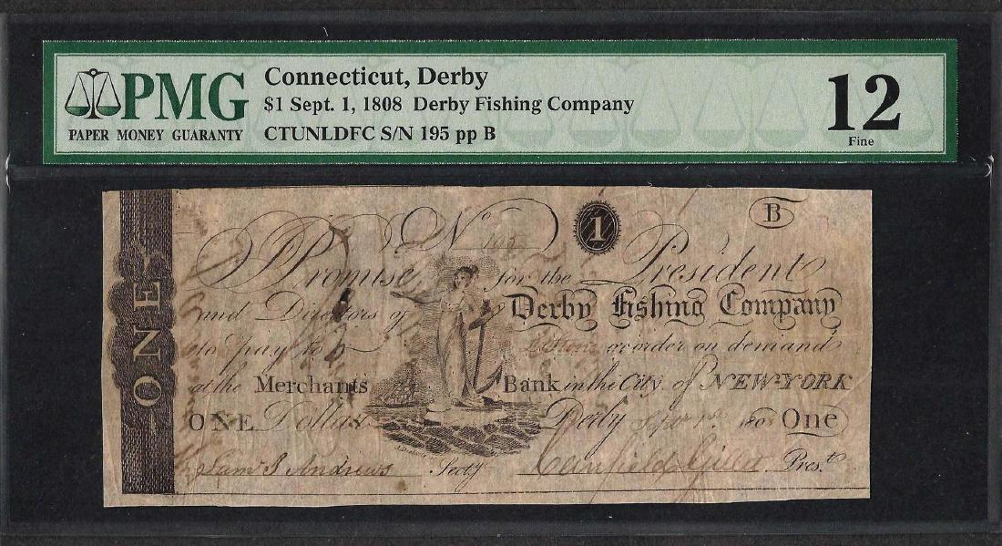 1808 $1 Derby Fishing Company Obsolete Note PMG Fine 12