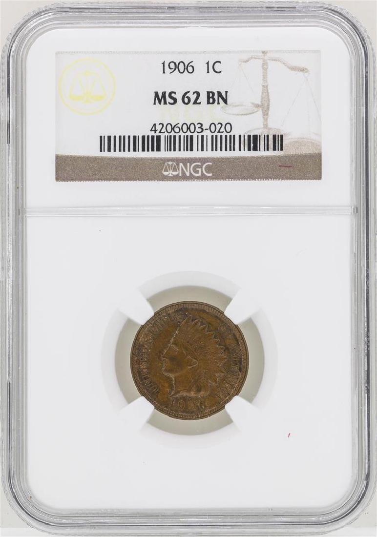 1906 Indian Head Cent Coin NGC MS62BN