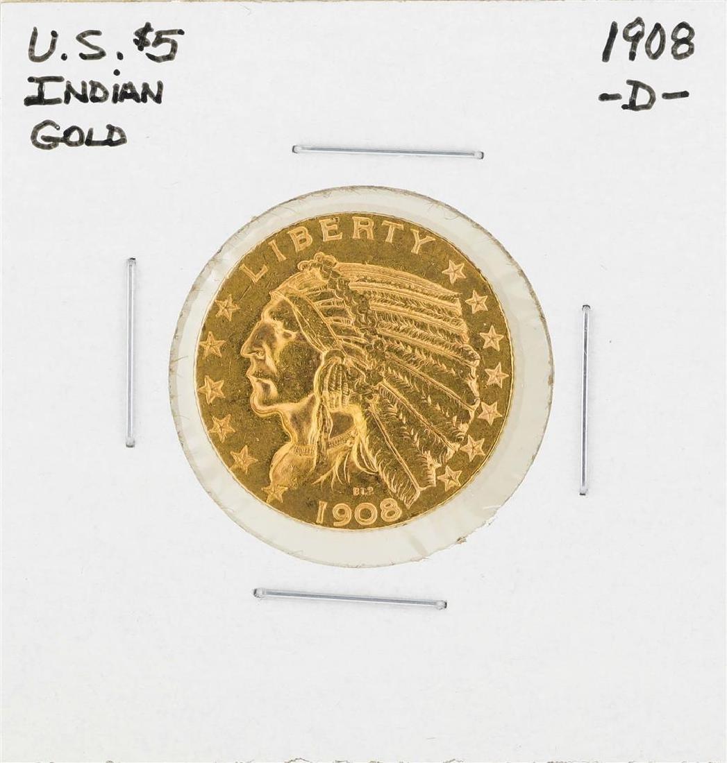 1908-D $5 Indian Head Half Eagle Gold Coin