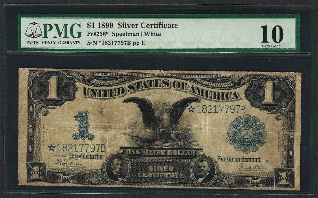 1899 $1 Black Eagle Silver Certificate STAR Note