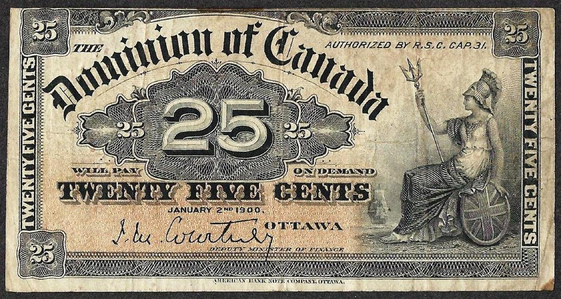1900 Twenty Five Cents Dominion of Canada Note