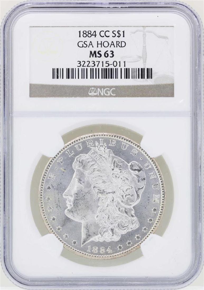 1884-CC $1 Morgan Silver Dollar Coin NGC MS63 GSA Hoard