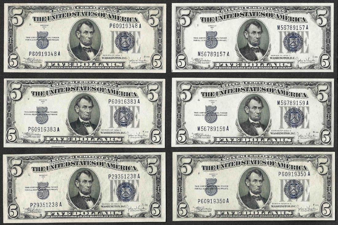 Lot of (6) 1934C $5 Silver Certificate Notes