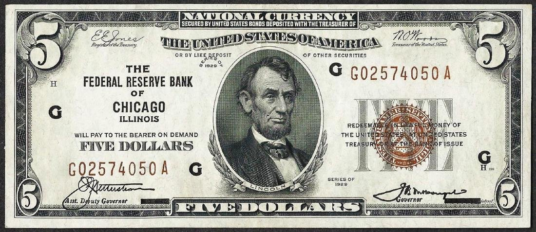 1929 $5 Federal Reserve Bank Note Chicago, IL