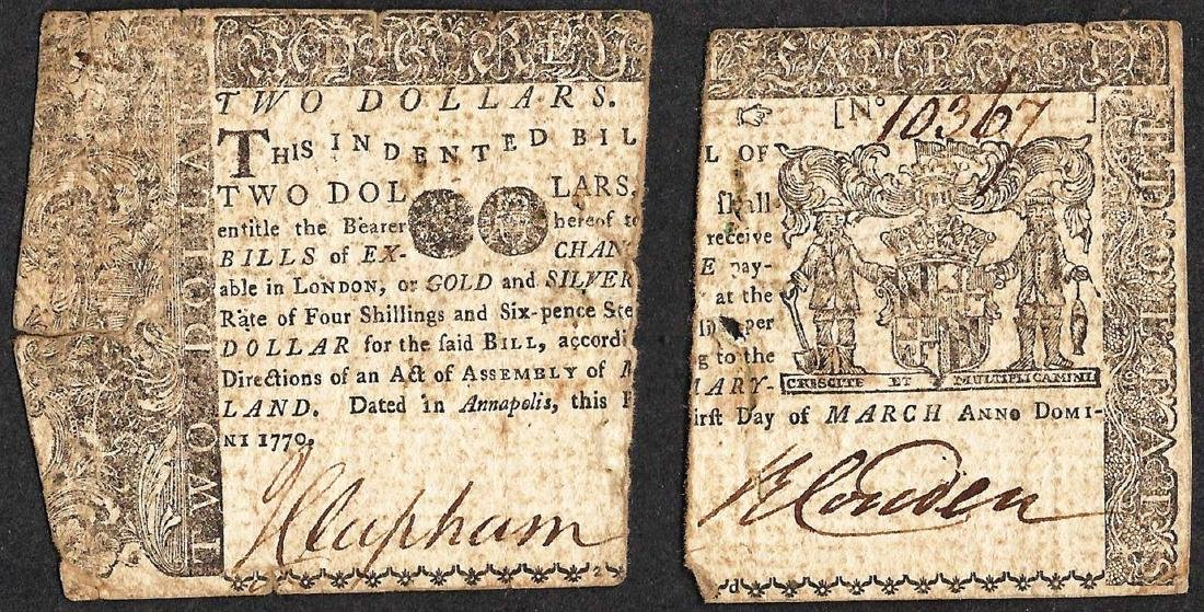 March 1st, 1770 $2 Maryland Colonial Currency Note