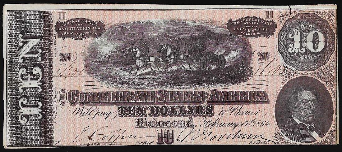 1864 $10 Confederate States of America Note