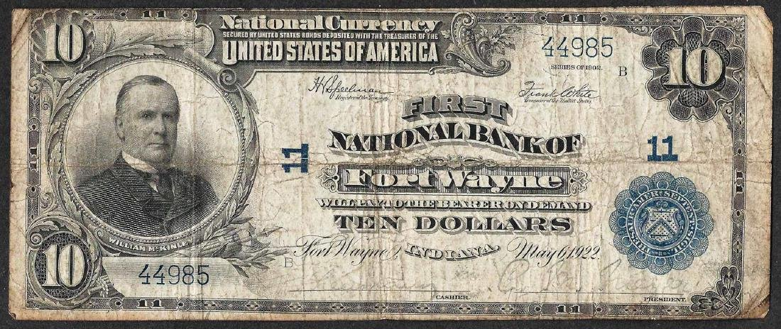 1902 $10 Fort Wayne, Indiana National Currency Note CH