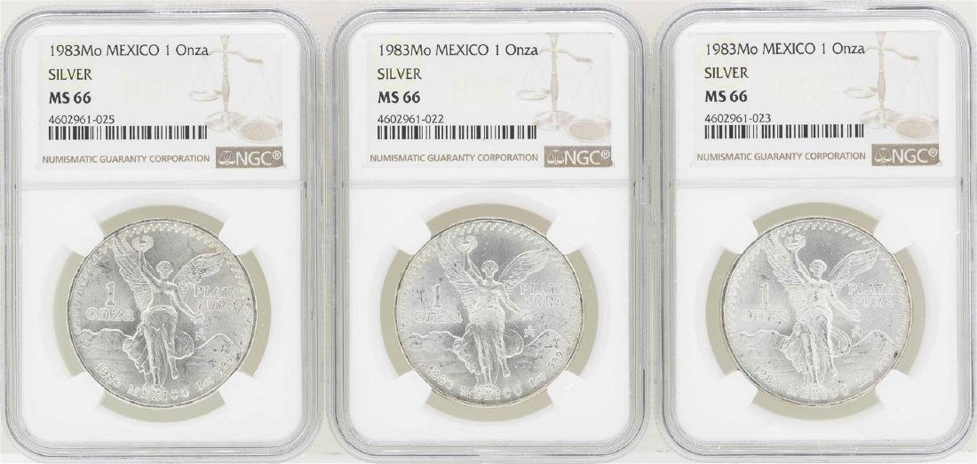 Lot of (3) 1983Mo 1 Onza Silver Libertad Coins NGC MS66