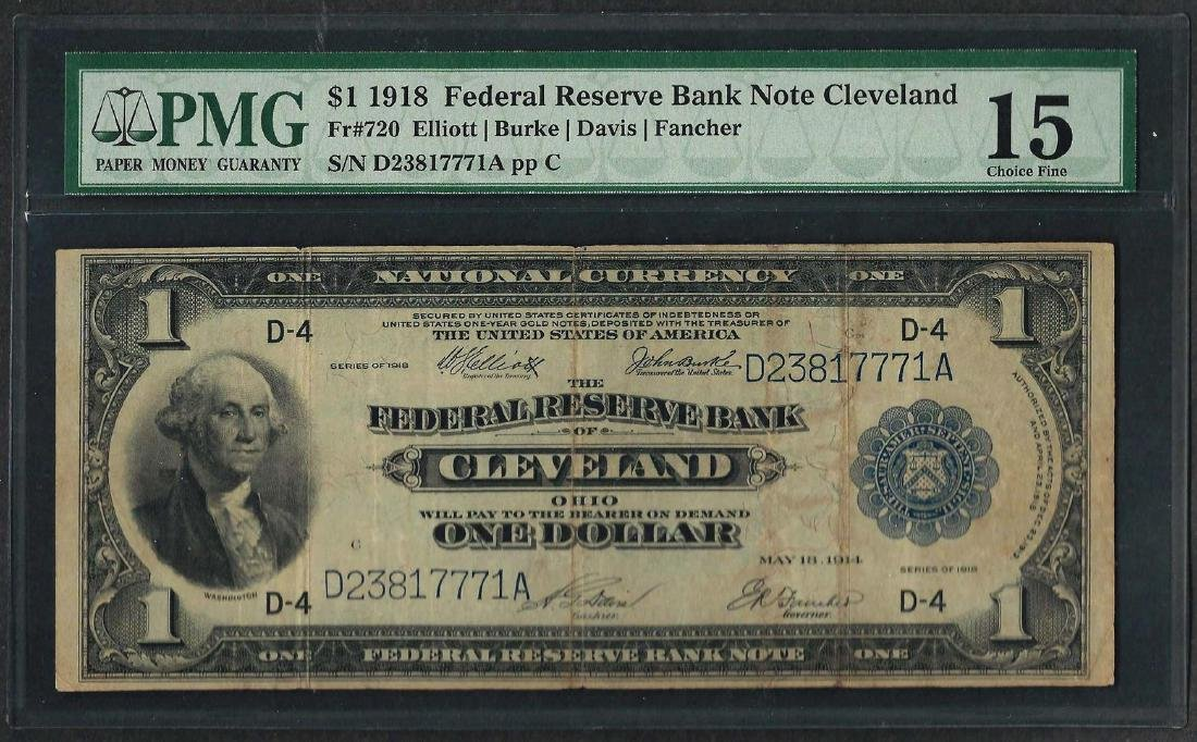 1918 $1 Federal Reserve Bank Note Cleveland Fr.720 PMG